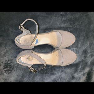 Suede nude wedge heels